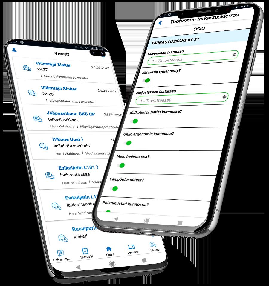 viestit ja tehtävälomake mobiilit